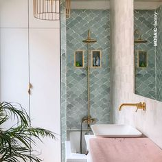 Bathroom Staging, Bathroom Interior Design, Upstairs Bathrooms, Downstairs Bathroom, Aqua Bathroom, Small Bathroom, Fish Scale Tile, Blue Tiles, Bathroom Inspiration