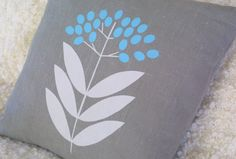 Elderberry turquoise cushion cover. £20.00, via Etsy.