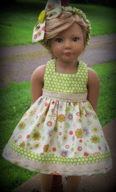 "Pretty Summer Dress for Kidz n Cats or other 18"" Slim such as Magic Attic Dolls"
