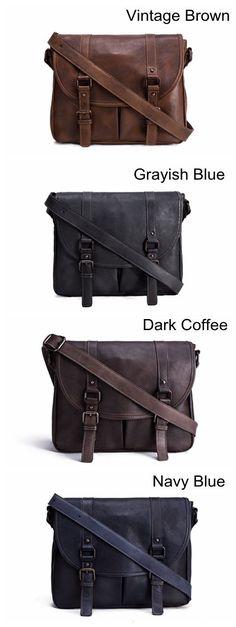 Handmade Vegetable Tanned Leather Men's Messenger Bag, Shoulder Bag, Satchel Bag