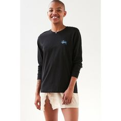Stussy Basic Logo Long-Sleeve Tee ($35) ❤ liked on Polyvore featuring tops, t-shirts, stussy t shirts, cotton t shirts, crew-neck tee, crew neck t shirt and cotton crew neck t shirts