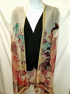 One size fits most, Sheer, Chiffon, Kimono with Stunning, Asian Lady Print. Bohemian cover-up, Curvy girl. Free shipping in continental US by LillyHazel2015 on Etsy
