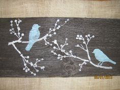 Aqua Rustic Wall Decor Reclaimed Simple Wood Blue Birds Black on Old Barn Wood
