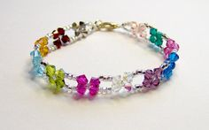 Multicoloured rainbow beaded bracelet or anklet by BuzzybeeBeading, £10.00