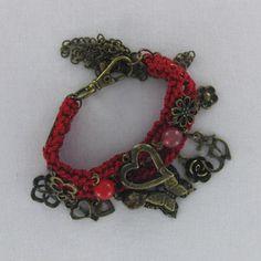 Pulsera, bisuteria, tejida, roja,  Luz de Luna - Catalogo de joyería