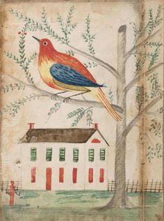 American, Pennsylvania German - House and Bird on a Tree