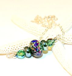 Elegant Lampwork Bead Necklace with Purple-Green Glass Focal Bead. Sterling Silver Chain. Green Glass Bead Necklace. Lampwork Jewelry.