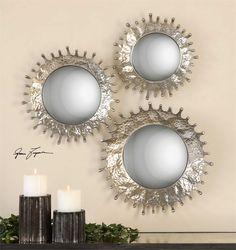 Uttermost Sizes: sm-15x15x3, med-17x17x4, lg-20x20x4 Rain Splash Round Mirrors, S/3