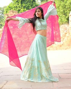 Shop Mint green and pink chanderi lehenga set Indian Attire, Indian Wear, Indian Outfits, Indian Dresses, Indian Clothes, Gold Lehenga, Green Lehenga, Lehenga Choli, Indian Lehenga