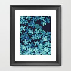 Hand Painted Floral Pattern in Teal & Navy Blue Framed Art Print