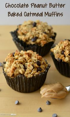 Chocolate Peanut Butter Baked Oatmeal Muffins