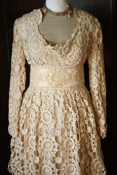 Antique Crochet Wedding Dress. $775.00, via Etsy.---WOW!!!!