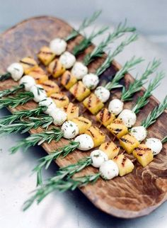 Savory Fall Wedding Appetizers Grilled Polenta & Mozzarella on Rosemary SkewersGrilled Polenta & Mozzarella on Rosemary Skewers Antipasto, Grilled Polenta, Wedding Appetizers, Wedding Canapes, Fall Appetizers, Wedding Catering, Wedding Reception, Wedding Ideas, Wedding Snacks