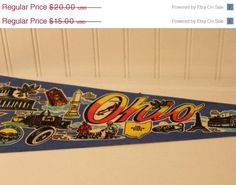 50% Off Summer Clearance Vintage Ohio Pennant Flag Banner Souvenir Collectible