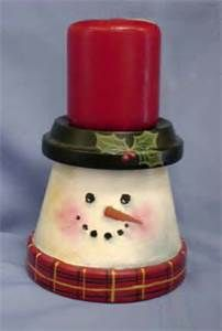 Snowman Clay Potsn from Terra Cotta Pots Christmas Snowman, Winter Christmas, Christmas Holidays, Christmas Decorations, Christmas Clay, Christmas Candle, Christmas Design, Simple Christmas, Snowman Crafts