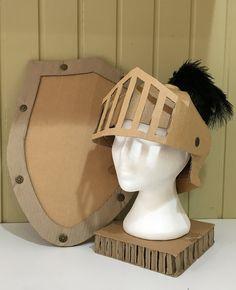DIY Cardboard Knights Helmet Template by Zygote Brown Designs Cardboard Mask, Cardboard Costume, Cardboard Box Crafts, Cardboard Playhouse, Cardboard Furniture, Playhouse Furniture, Diy Knight Costume, Knight Costume For Kids, Theme Carnaval