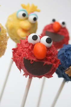 sesame street cake pops - cute alternative to regular cake or cupcakes