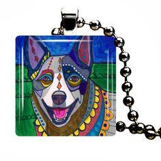 Australian Cattle Dog Pendant Necklace Blue Heeler Jewelry GIFT Modern Folk Art