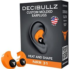 f2d01fb5d7fd6 Decibullz Custom Molded Earplugs 31dB Highest NRR. Comfortable Hearing  Protection for Shooting, Travel, Sleeping, Swimming, Work and Concerts (Red)