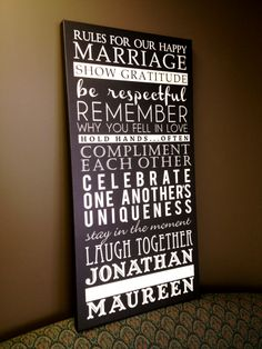 Inspiring Rules for a Happy Marriage. Great for the main living area of your home or the master bedroom. Great wedding gift or anniversary gift!