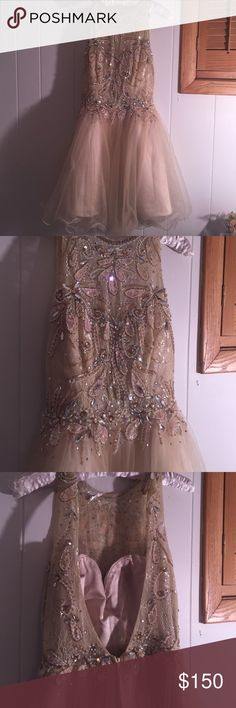 Champagne colored Homecoming Dress (high neckline) Beautiful dress! My favorite homecoming dress I have ever worn! Amazing color and in great condition! Love that it is backless! promgirl Dresses Prom
