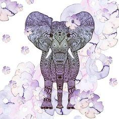 FLOWER SHOWER  Art Print #flower #watercolor #elephant
