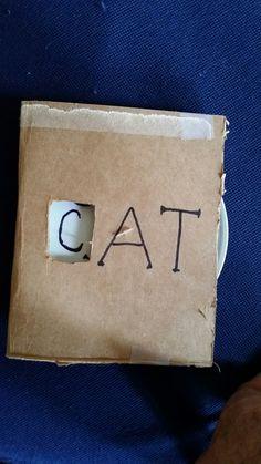 Three letter word game- back -'_AT' Cardboard & plastic jar cover (lid).