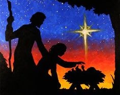 """Social Artworking Canvas Painting Design - Nativity Silhouette A lovely and unique depiction of the Nativity is offered in this striking silhouette design. With its rich palette and beautiful artistry, this piece will be the perfect foundation for a very memorable Christmas painting party.  CANVAS SIZE:  16"""" x 20""""  TIME TO PAINT:  approximately 2 hours"""