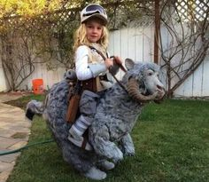 Luke riding his Tauntaun...  Or maybe the most bad-a$$ costume for a kid! #halloween #StarWars