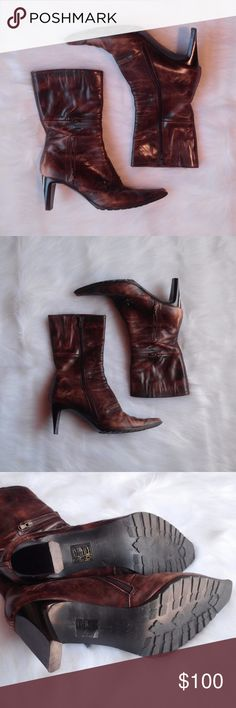 Vintage Italian Leather Heeled Boots Zita Maria Size 37.5 (US size 7.5). Made in Italy. Italian Leather heel boots.  There is 4 zippers on each boot. Some scuff marks and light wear (see pictures, not noticeable) Open to Offers :)  *a0029 Zita Maria Shoes Heeled Boots