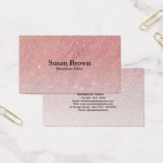 #Elegant pink gold faux glitter Beautician Salon Business Card - #wedding gifts #marriage love couples