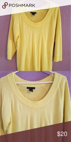 NY & Company Bright Yellow sweater Soft and bright yellow sweater. In excellent condition. Make me an offer!! New York & Company Sweaters Crew & Scoop Necks