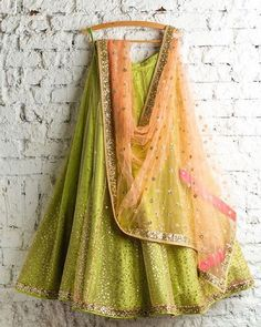 Mint green lehenga with peach choli perfect combination for this season sangeet…