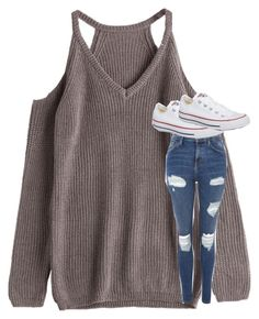"""""""Untitled #5175"""" by laurenatria11 ❤ liked on Polyvore featuring Topshop and Converse"""