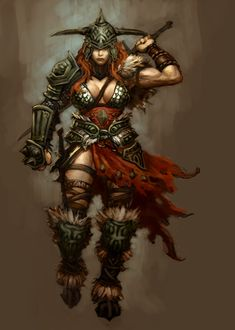 View an image titled 'Barbarian Female Art' in our Diablo III art gallery featuring official character designs, concept art, and promo pictures. Fantasy Warrior, Warrior Girl, Fantasy Rpg, Fantasy Artwork, Warrior Women, Warrior Princess, Medieval Fantasy, Elfa, Red Sonja