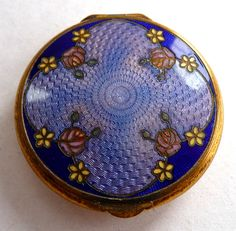 Enamel Guilloche & Champleve Compact in Purple & Pink