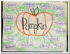 Just draw the Pumpkin laminate and then each year write the describing words and wipe them off for next year.