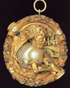 A Golden Rose. Flemish manufacture-Pendant depicting Hercules, gold, enamel and pearl-Scaramazza XVI century-Christie-Geneva- Renaissance Jewelry, Medieval Jewelry, Ancient Jewelry, Bijoux Art Nouveau, Art Nouveau Jewelry, Pearl Jewelry, Jewelry Art, Gold Jewelry, Fine Jewelry