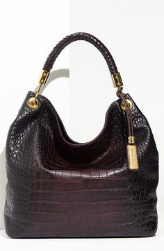 Michael Kors 'Skorpios - Large' Croc Embossed Leather Hobo