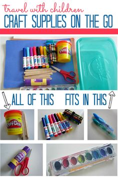 Pack your craft supplies with you! Great for keeping little kids busy on the road or when visiting family.    -Repinned by Totetude.com