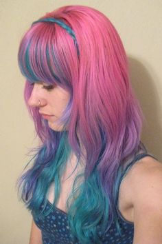 Pink and blue mixed hair