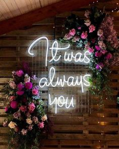 small and intimate floral wedding ideas with neon signs for some modernity Perfect Wedding, Fall Wedding, Wedding Ceremony, Our Wedding, Wedding Venues, Dream Wedding, Wedding Cakes, Party Wedding, Magical Wedding