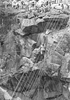"""Circus legend Karl Wallenda crossing the Tallulah Gorge 35 years ago on July 18, 1970. Wallenda, who was 65 at the time, said the crossing """"was the most dangerous thing I've ever done and the most beautiful."""" Tallulah Falls, Ga."""