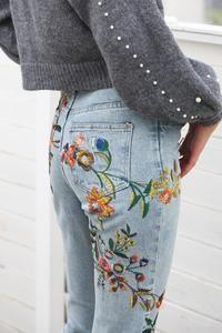 Hip Floral embroidery jeans, Casual high waist jeans, Light blue denim pencil pants, Please Read Size Description