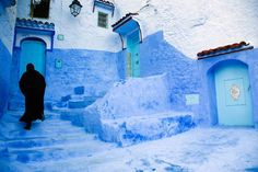 A town painted blue! Traditional blue-painted doors and walls in Chefchaouen, Morocco's old town. Image by David Sutherland / Photographer's Choice / Getty Images.