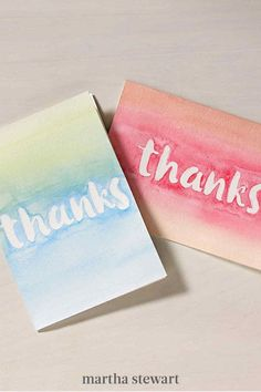 A colorful thank-you card will go a long way, and creating this thank-you note is easy. Learn how to create this handmade watercolor thank-you card with our step-by-step directions. We suggest using other combinations of colors and different card orientations to make one for every one of your children's teachers. #marthastewart #diydecor #diyprojects #diyideas #handmadegiftideas