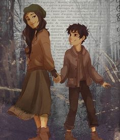 Bianca and Nico Di Angelo He actually lookes happy in this picture