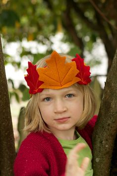 Fall Leaf Crown - Fairy crown -  Child's felt crown - Orange, yellow, and red maple leaves - Autumnal
