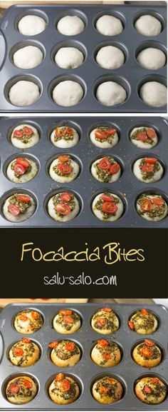Junk Food Focaccia Bites - These mini focaccia bites are the perfect snack. They are made using a muffin tin. Pizza dough is used along with pesto sauce, tomatoes and rosemary. Junk Food, Food Food, Catering Food, Catering Display, Catering For Parties, Italian Catering, Catering Recipes, Pan Relleno, Mini Pumpkin Pies