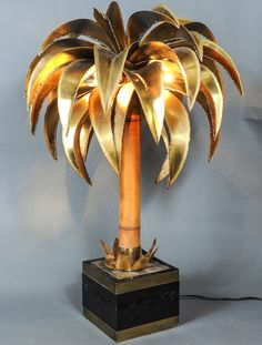 pair of Maison Jansen Palm tree lamps | From a unique collection of antique and modern more lighting at https://www.1stdibs.com/furniture/lighting/decorative-lighting-lamps/